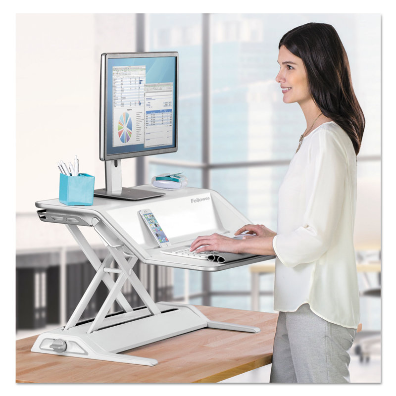 *Fellowes Lotus™ Sit-Stand Workstation – White
