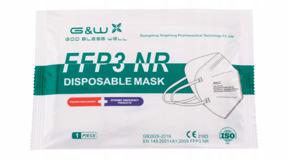 NOLIKTAVĀ! *Augstas kvalitātes sertificēts respirators/sejas maska G&W GOD BLESS WELL FFP3. Modelis:TS01