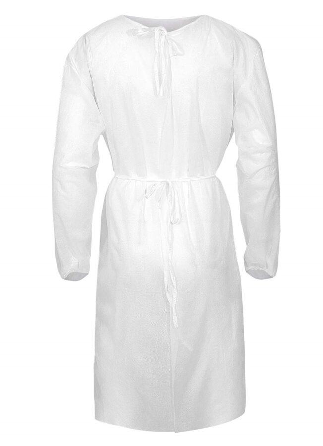 NOLIKTAVĀ! Vienreizējās lietošanas polipropilēna halāts, balts, universāls izmērs, sasienams aizmugurē, blīvums: 40 g/m², 1 gab.