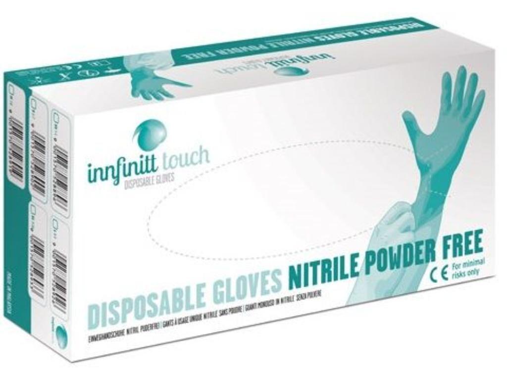 NOLIKTAVĀ! *Sertificēti augstas kvalitātes nepūderēti NITRILA gumijas cimdi INNFINITT TOUCH, 100 gab., zili, S, M, L vai XL izmērs/Disposable nitrile gloves