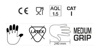 NOLIKTAVĀ! *Sertificēti augstas kvalitātes nepūderēti NITRILA gumijas cimdi ABENA, 100 gab., zili, S izmērs