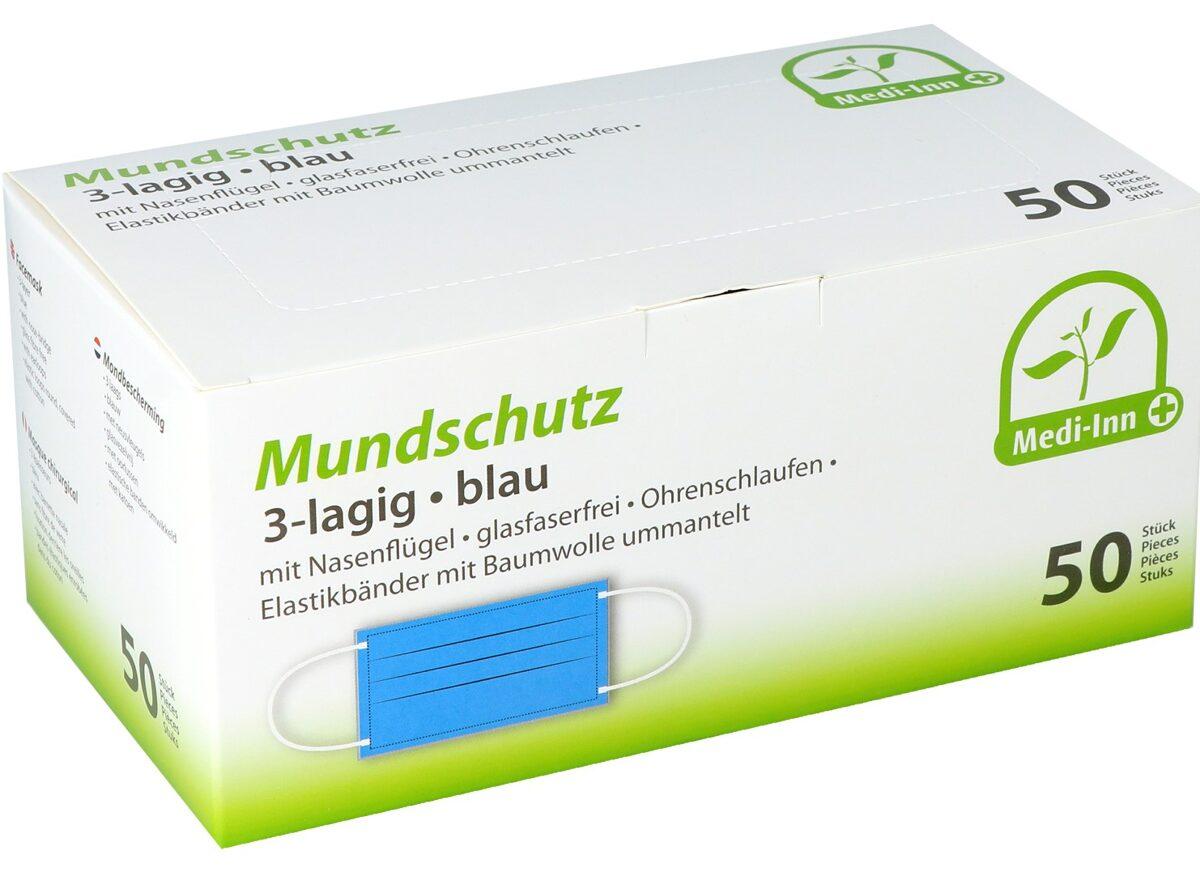 NOLIKTAVĀ! *Augstākās kvalitātes II tipa medicīniskās vienreizējās lietošanas sejas maskas Medi-Inn Mundschutz, 3 slāņi, 50 gab., TYPE IIR