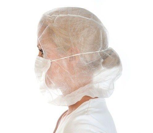 NOLIKTAVĀ! Vienreizējās lietošanas cepures ar masku, astronauta tipa, 50 gab., baltas