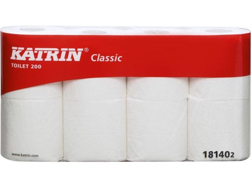 Tualetes papīrs KATRIN Classic Toilet 200, 2-slāņu, 23.4 m, balts, perforēts, 40 RUĻĻI