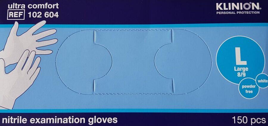 NOLIKTAVĀ! Sertificēti augstas kvalitātes nepūderēti NITRILA gumijas cimdi KLINION, 150 gab., balti, M vai L izmērs