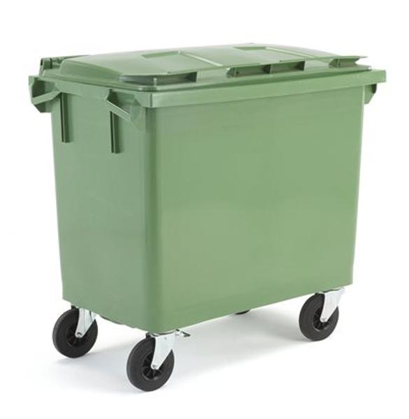 Atkritumu konteiners, zaļš, 660 litri, no HDPE plastmasas, atbilst AFNOR EN-840 standartiem