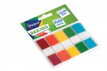 Indeksi PVC 12x44 mm, 5 krāsu x 25 lpp.