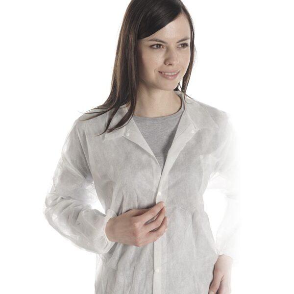 NOLIKTAVĀ! *Vienreizējās lietošanas halāts ar pogām. Izmēri M, XL un XXL, 1 gab.