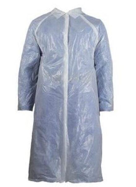 NOLIKTAVĀ! Vienreizējās lietošanas halāts ar spiedpogām no polietilēna, ūdensdrošs