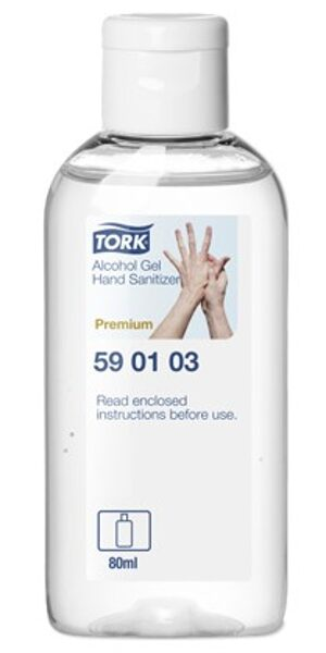 NOLIKTAVĀ! Dezinfekcijas līdzeklis rokām TORK, gēlveida, 80 ml. Satur 80% denaturēta spirta