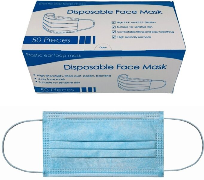NOLIKTAVĀ! Vienreizējās lietošanas sejas maskas, 3 slāņi, 50 gab.
