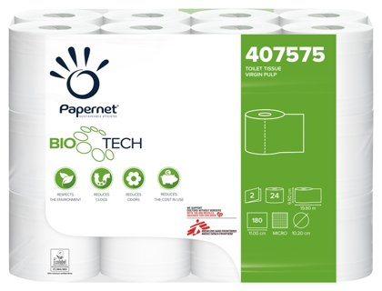 Augstākās kvalitātes tualetes papīrs Papernet Bio Tech, 180 lokšņu, 2 kārtas, 24 ruļļi