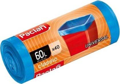 Atkritumu maisi CLASSIC UNIVERSAL, 60 litri, 40 gab., zili