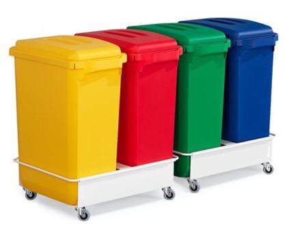 *Atkritumu tvertnes, 60 litri, 4 gab., 2 ratiņi