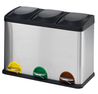 *Atkritumu tvertne ar izņemamiem iekšējiem nodalījumiem, dažādu krāsu pedāļiem un rokturiem, 45 litri