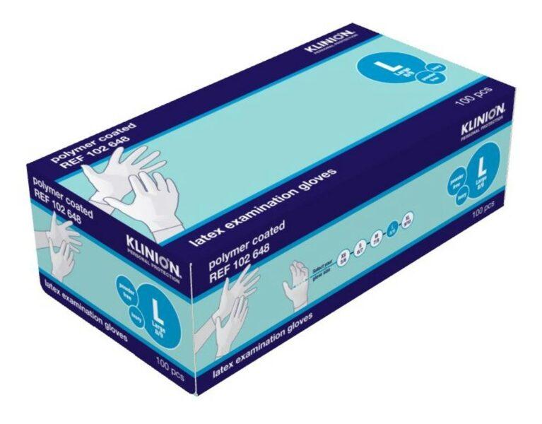 NOLIKTAVĀ! Sertificēti augstas kvalitātes nepūderēti LATEKSA gumijas cimdi KLINION, 100 gab., balti, L izmērs