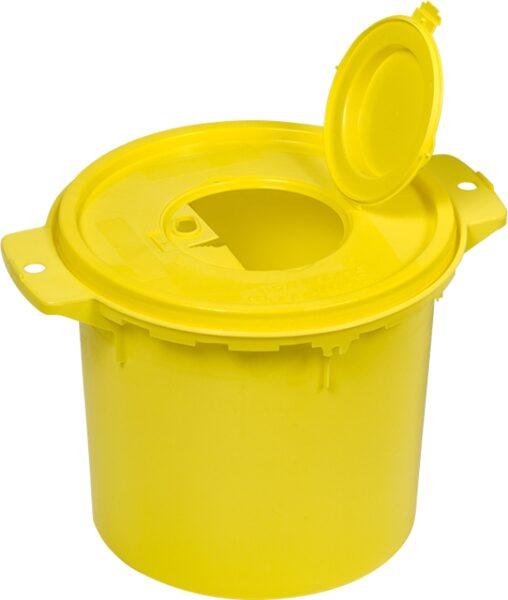 Konteiners bīstamu atkritumu savākšanai, piemēram, zāļu ampulas, šļirces, adatas, insulīna adatas, skalpeļa asmeņi utt., 5 litri
