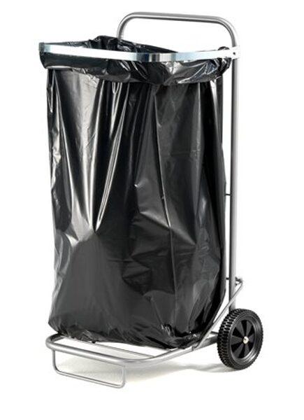 Ratiņi atkritumu maisiem, 125 litri, sudraba, tērauda