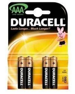 Baterijas Duracel Alkaline AAA /LR03/MN2400 B4CB 1,5V, 4gab.