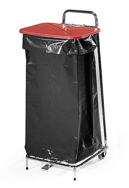 Tērauda statīvs atkritumu maisiem ar plastmasas vāku, 125 litri, aprīkots ar pedāli, vāku var atvērt bez roku palīdzības