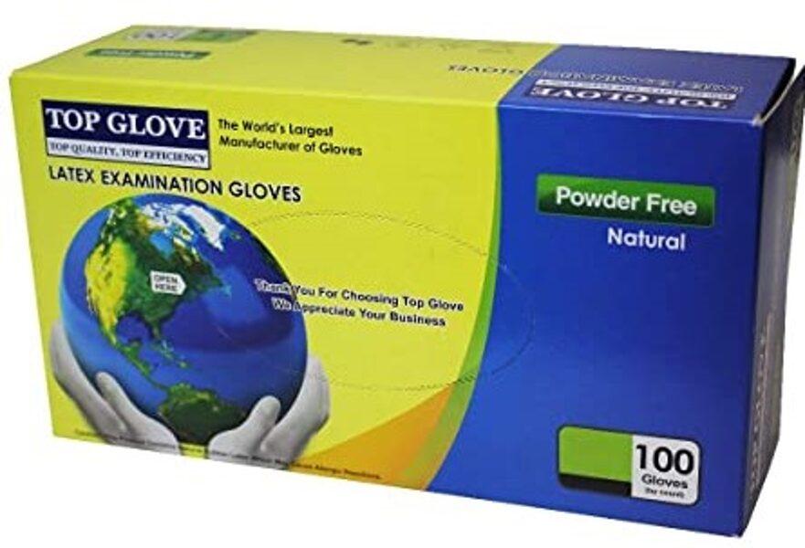 NOLIKTAVĀ! Sertificēti augstas kvalitātes nepūderēti LATEKSA gumijas cimdi TOP GLOVE, 100 gab., balti, M vai L izmērs/Disposable latex gloves