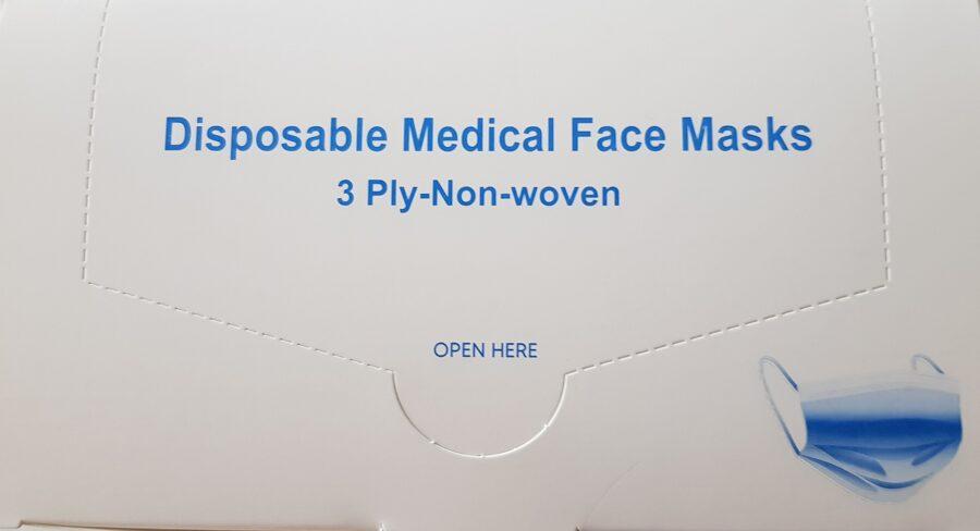 NOLIKTAVĀ! Augstas kvalitātes vienreizējās lietošanas medicīniskās sejas maskas, 3 slāņi, 50 gab.