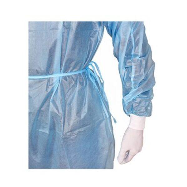 NOLIKTAVĀ! Vienreizējās lietošanas medicīnisks ūdensizturīgs halāts, 139 x 139 cm (garums x platums), zils