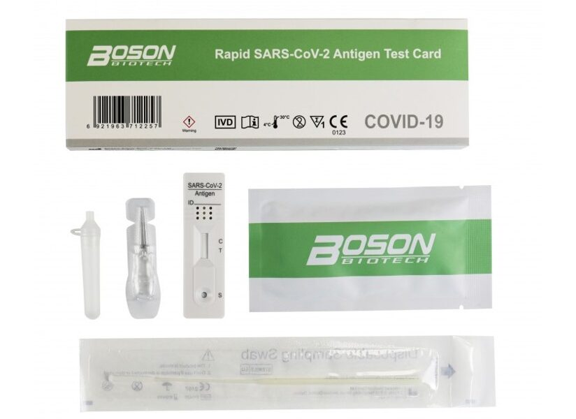 NOLIKTAVĀ! Boson Biotech, ātrais SARS-CoV-2 paškontroles antigēna tests, 1 gab. / covid tests. Antigēna noteikšana ar deguna uztriepēm